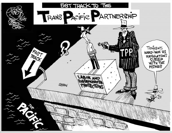 Fast Tracking the TPP, an OtherWords cartoon by Khalil Bendib