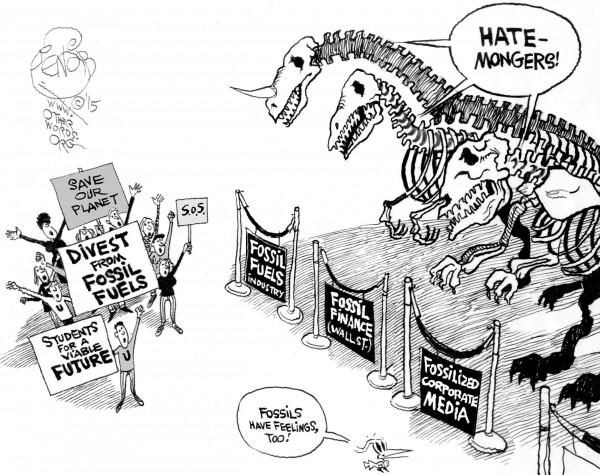 Fossil Fuel Extinction, an OtherWords cartoon by Khalil Bendib