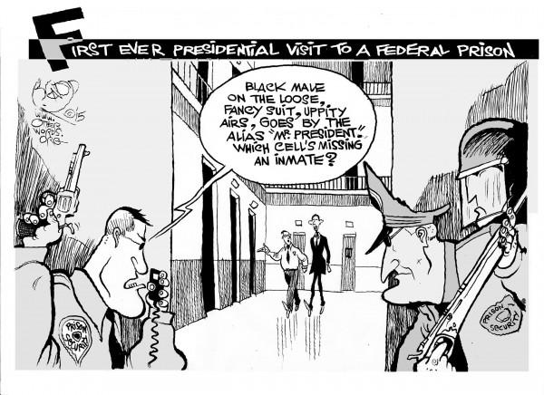 Mr. Obama Goes to Prison, an OtherWords cartoon by Khalil Bendib