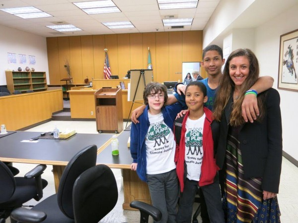 Attorney Andrea Rogers with some of her young clients. Photo credit: Our Children's Trust