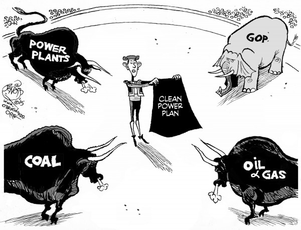 The Clean Power Plan Enters the Ring, an OtherWords cartoon by Khalil Bendib