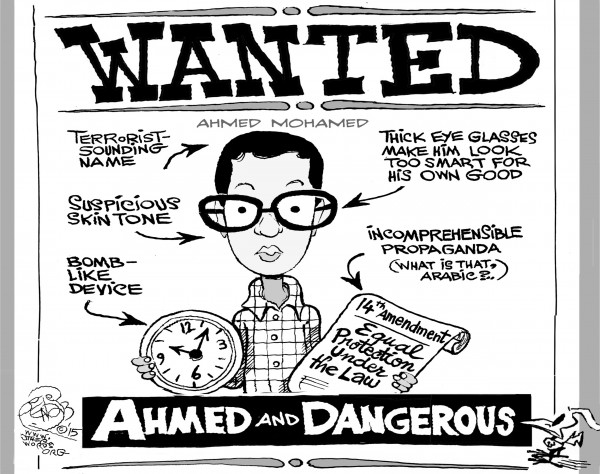 Ahmed and Dangerous, an OtherWords cartoon by Khalil Bendib