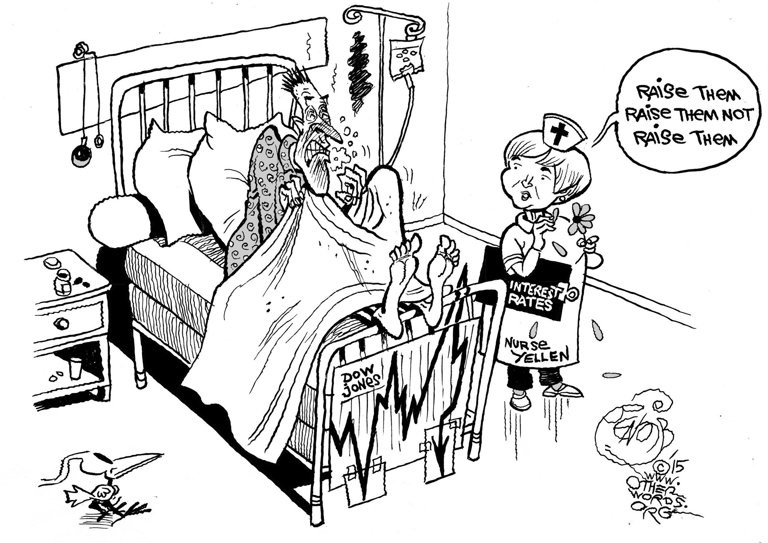 The Stock Market Breaks into Cold Sweats, an OtherWords cartoon by Khalil Bendib