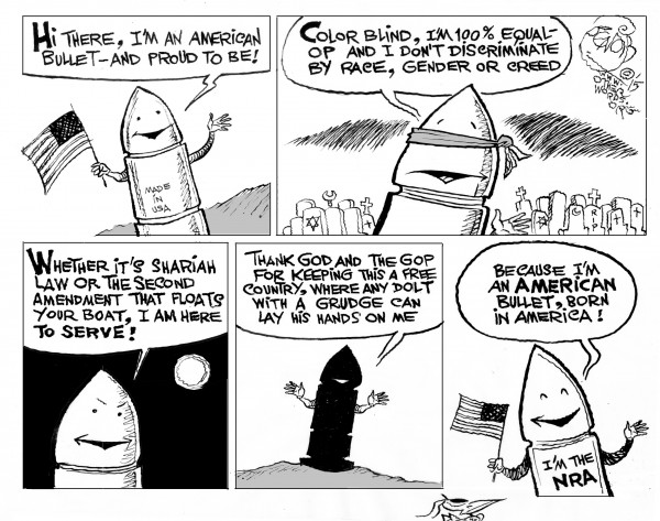 All-American Bullet, an OtherWords cartoon by Khalil Bendib