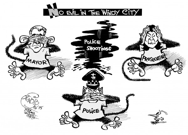 Seeing No Evil, Chicago Edition, an OtherWords cartoon by Khalil Bendib