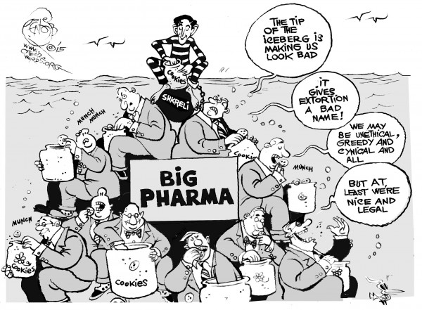 Chip Off the Old Pharmaberg, an OtherWords cartoon by Khalil Bendib