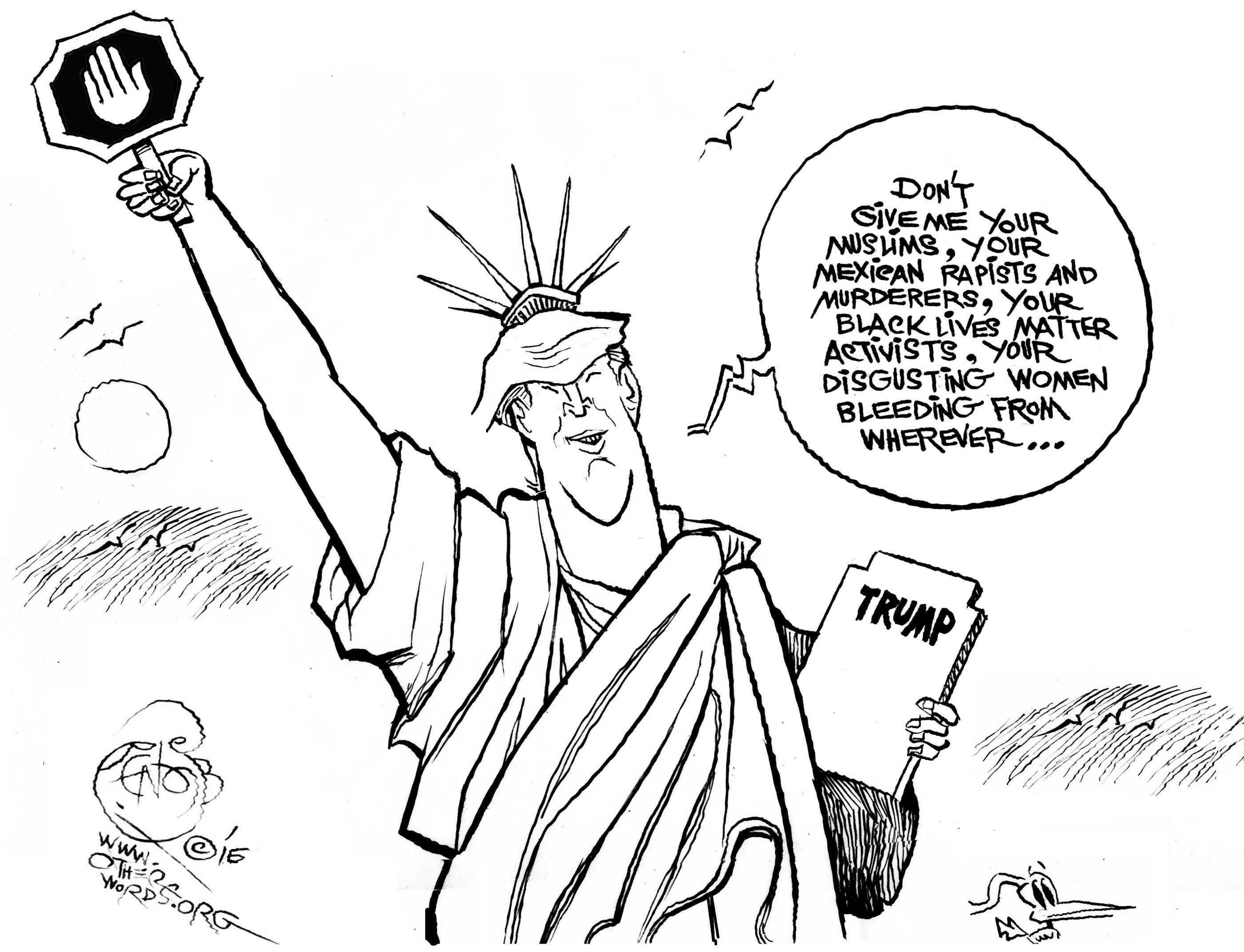 donald trump immigration racism xenophobia statue of liberty