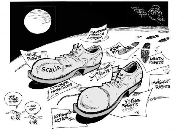 Scalia's Big Shoes, an OtherWords cartoon by Khalil Bendib