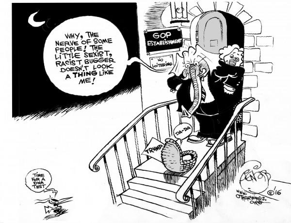 Clear-Cut Paternity Case, an OtherWords cartoon by Khalil Bendib